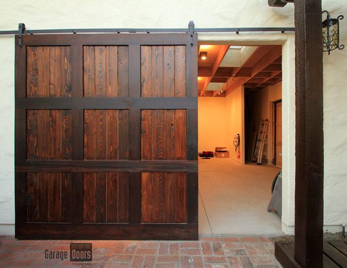 Stain grade custom wood garage doors