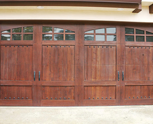 Stain Grade Custom Wood Garage Doors